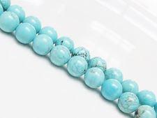 Image de 8x8 mm, perles rondes, pierres gemmes, magnésite bleu turquoise