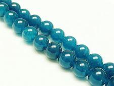 Afbeelding van 10x10 mm, rond, edelsteen kralen, Maleisische jade, pauwblauw