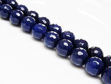 Image de 12x12 mm, perles rondes, pierres gemmes, jade, bleu éclipse, qualité A, à facettes
