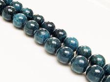 Picture of 12x12 mm, round, gemstone beads, Mashan jade, deep cyan blue