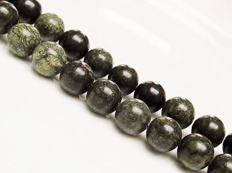 Picture of 10x10 mm, round, gemstone beads, African green jasper, natural