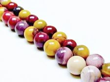 Picture of 10x10 mm, round, gemstone beads, Mookaite Windalia Radiolarite, natural, A-grade