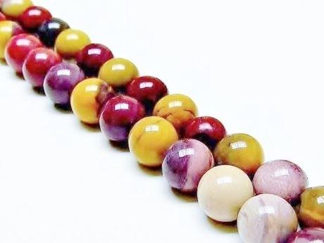 Picture of 10x10 mm, round, gemstone beads, Mookaite Windalia Radiolarite, natural, A-grade