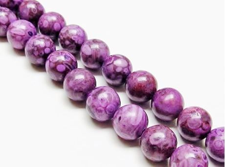 Picture of 10x10 mm, round, gemstone beads, ocean jasper, purple