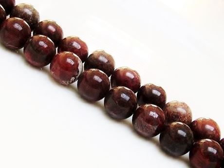 Picture of 10x10 mm, round, gemstone beads, poppy jasper, natural