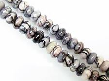Picture of 5x10 mm, rondelle, gemstone beads, black veined jasper, natural