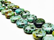 Picture of 6x12 mm, puffy coin, gemstone beads, African turquoise, natural