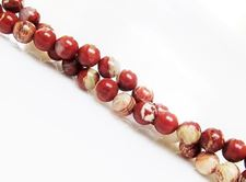 Picture of 6x6 mm, round, gemstone beads, banded red jasper, natural
