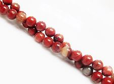 Picture of 6x6 mm, round, gemstone beads, new poppy jasper, natural