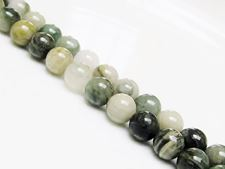 Picture of 8x8 mm, round, gemstone beads, striped jasper, laurel green, natural, A-grade