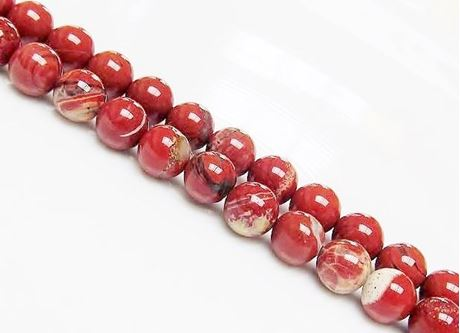 Afbeelding van 8x8 mm, rond, edelsteen kralen, gestreepte rode jaspis, natuurlijk