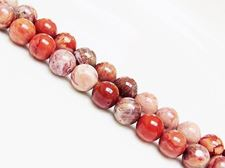 Picture of 8x8 mm, round, gemstone beads, imperial jasper, red, natural