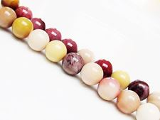 Picture of 8x8 mm, round, gemstone beads, Mookaite Windalia Radiolarite, natural, A-grade