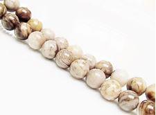 Picture of 8x8 mm, round, gemstone beads, new silver leaf jasper, beige, natural
