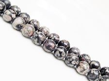 Picture of 8x8 mm, round, gemstone beads, ocean jasper, black, natural
