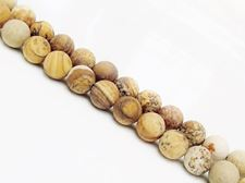 Picture of 8x8 mm, round, gemstone beads, Picture jasper, natural, frosted
