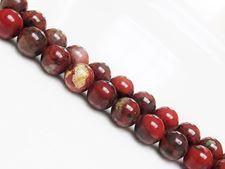 Picture of 8x8 mm, round, gemstone beads, poppy jasper, natural