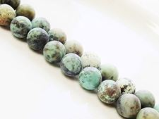 Picture of 10x10 mm, round, gemstone beads, African turquoise, natural, frosted