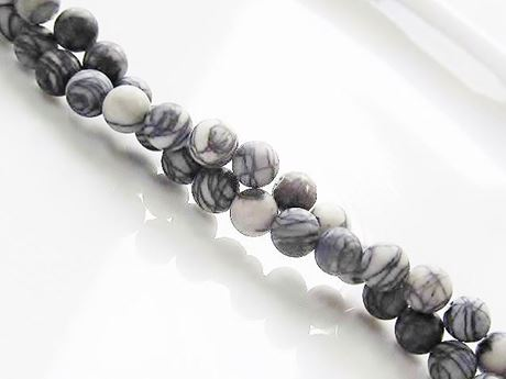 Picture of 6x6 mm, round, gemstone beads, black veined jasper, natural, frosted