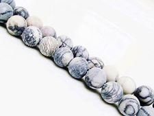 Picture of 8x8 mm, round, gemstone beads, black veined jasper, natural, frosted