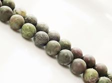 Picture of 8x8 mm, round, gemstone beads, dragon blood jasper, natural, frosted