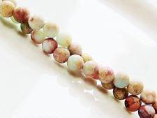 Image de 6x6 mm, perles rondes, pierres gemmes, jaspe impression, naturel, dépoli