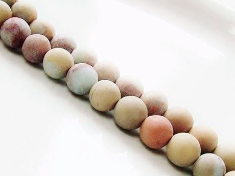 Picture of 8x8 mm, round, gemstone beads, impression jasper, natural, frosted