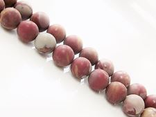 Picture of 8x8 mm, round, gemstone beads, red picture jasper, natural, frosted