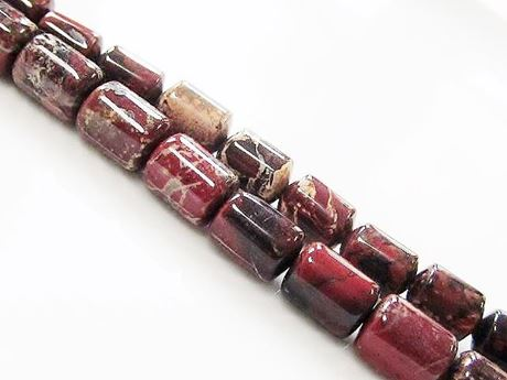 Picture of 6x8 mm, drum-shaped, gemstone beads, poppy jasper, natural, A-grade