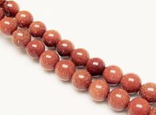Picture of 10x10 mm, round, gemstone beads, goldstone, red