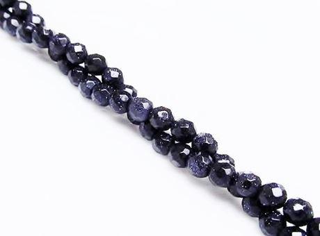 Afbeelding van 4x4 mm, rond, edelsteen kralen, goudsteen, nachtblauw, in facetten