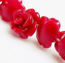 Image de 8x8 mm, fleurs sculptées, roses, perles pierres gemmes, pierre artistique, rouge, 25 pièces