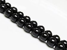 Picture of 10x10 mm, round, gemstone beads, tourmaline, black, natural
