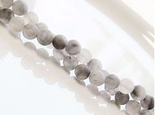 Picture of 6x6 mm, round, gemstone beads, quartz, warm silver grey, natural, frosted