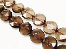 Picture of 12 mm, coin-shaped, gemstone beads, smoky quartz, natural, faceted
