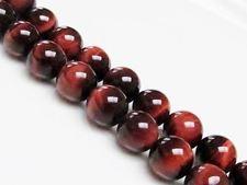 Image de 10x10 mm, perles rondes, pierres gemmes, oeil-de-tigre, rouge, qualité A