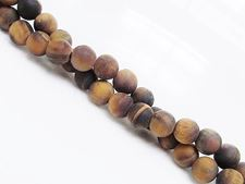 Picture of 6x6 mm, round, gemstone beads, tiger eye, natural, frosted
