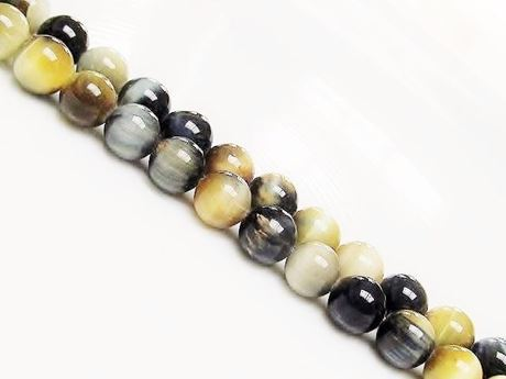 Picture of 8x8 mm, round, gemstone beads, tiger eye, blue grey and butter yellow