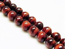 Picture of 8x8 mm, round, gemstone beads, tiger eye, red, A-grade