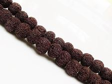 Picture of 8x8 mm, round, gemstone beads, lava rock, dyed deep brown