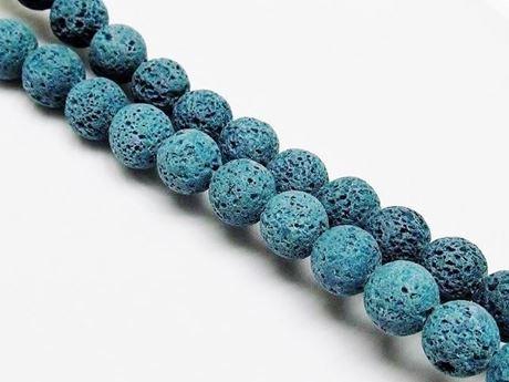 Afbeelding van 10x10 mm, rond, edelsteen kralen, lavasteen, diep groen blauw gekleurd