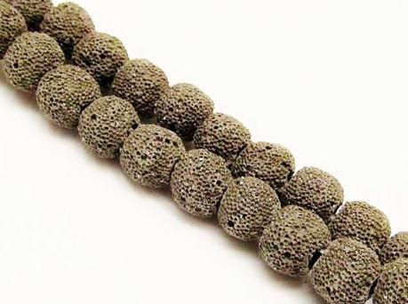 Image de 10x10 mm, perles rondes, pierres gemmes, pierre de lave, teintée gris noir chaud
