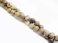 Picture of 6x6 mm, round, gemstone beads, Chinese painting stone, natural, frosted