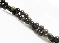 Picture of 6x6 mm, round, gemstone beads, obsidian, golden sheen, natural