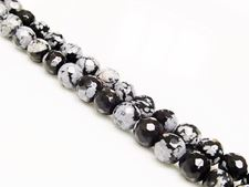 Picture of 6x6 mm, round, gemstone beads, obsidian, snowflake, natural, faceted