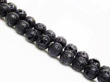 Image de 10x10 mm, perles rondes, pierres gemmes, pierre de lave, teintée noire, cirée