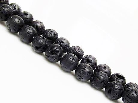 Picture of 10x10 mm, round, gemstone beads, lava rock, dyed black, waxed