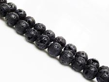 Picture of 8x8 mm, round, gemstone beads, lava rock, dyed black, waxed