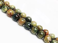 Picture of 8x8 mm, round, gemstone beads, rhyolite, green, natural, AA-grade