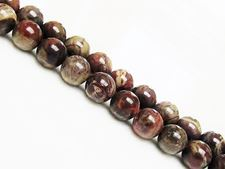 Picture of 8x8 mm, round, gemstone beads, rainforest jasper, rhyolite, natural